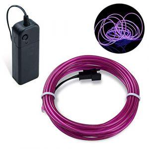 Guirlande Lumineuse LED, COVVY Neon Flexible Lumineux Décoration à piles pour Fête/Noël/Anniversaire/Soirée/Mariage, 3 Modes Éclairage avec télécommande, Imperméable Pour Intérieur (Violet, 3M) (BLUEMANGO, neuf)
