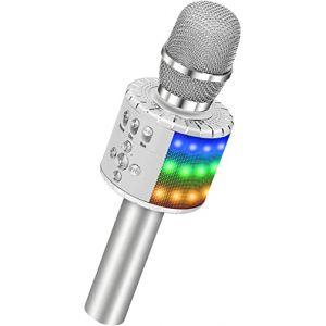 BONAOK Microphone Sans Fil, Microphone Karaoké Enfant Bluetooth Lecteur Enregistreur Portable, Lumières LED Coloré Microphone de Fête Familial pour Appareil Intelligent Android/iOS-Argent (BONAOK FR, neuf)