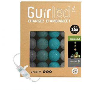 Guirlande lumineuse boules coton LED USB - Veilleuse bébé 2h - Adaptateur secteur double USB 2A inclus - 3 intensités - 16 boules 3.2m - Mangrove (Lighting Arena, neuf)