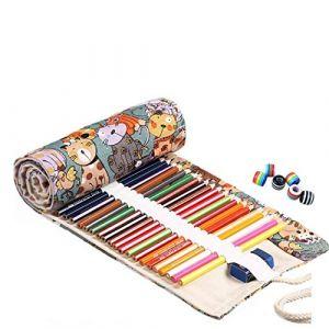 Amoyie trousse à crayon enroulable pour 72 crayons de couleur, sacs organiseurs de toile, porte-crayons pochettes rouleaux, enveloppe de crayon kawaii chat (amoyie, neuf)