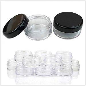 Lurrose 50pcs bocaux clairs en plastique contenant de bocal en plastique contenant d'échantillon Portable pot de bocal vide avec couvercle (noir) (bethphia, neuf)