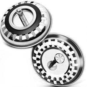 Bouchon d'évier trou Passoire, 2 pcs 80 mm en acier inoxydable Protector Bouchon de vidage lavabo pour cuisine salle de bain douche (LB trading, neuf)