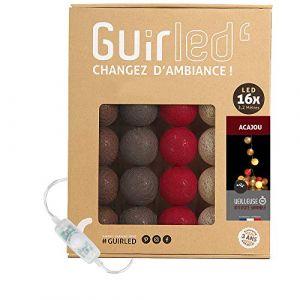 Guirlande lumineuse boules coton LED USB - Veilleuse bébé 2h - Adaptateur secteur double USB 2A inclus - 3 intensités - 16 boules 3.2m - Acajou (Lighting Arena, neuf)