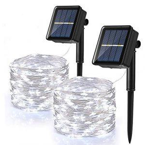 [Lot de 2] Guirlande Lumineuse Exterieur Solaire, BrizLabs 120 LED Guirlande Guinguette Solaire Étanche 12M 8 Modes Fil de Cuivre Guirlande pour Jardin Terrasse Mariage Noël Fête, Blanc Froid (Vegalife-EU, neuf)