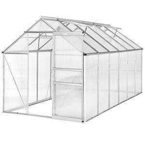 TecTake Serre de Jardin avec Base alu Polycarbonate Tente abri Plante Jardinage - diverses modèles (375x185x195cm sans Base   No. 402479) (Made4Home SAS, neuf)