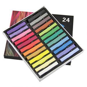 Halloween Craie Coloration Non toxique Crayon de Teinture à Cheveux Coiffure Temporaire 12/24 Couleurs (YJZQ, neuf)