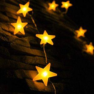 Guirlandes étoiles, par myCozyLite®, 40 lumières LED étoile chaîne avec batterie, Blanc chaud, étanche, Décoratifs étoiles lumières pour intérieur et extérieur, 5 mètres (theLightHouse, neuf)