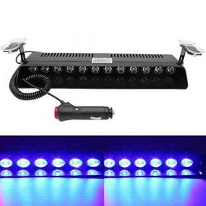 Viktion 12W 12 LEDs Feux de Pénétration Lumière Stroboscopique Eclairage Clignotant à 13 Modes pour Voiture Camion véhicule SUV DC12V (Bleu) (Touch Direct, neuf)