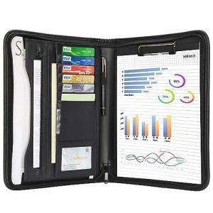 Leathario-Portfolio A4 en cuir PU, porte document, portfolio cuir pour bureau, agenda d'affaires en cuir, chemise de dossier en cuir, portfolio cuir pour directeur (LederleiterEU, neuf)