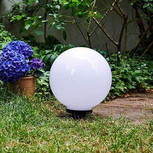 Boule lumineuse solaire LED Campinas en plastique blanc étanche, potelet de jardin de Ø 30 cm avec pieu de fixation, interrupteur on/off, 3000 Kelvin (blanc chaud) (hofstein, neuf)