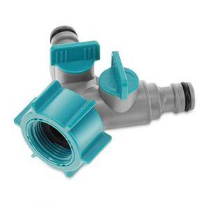 Navaris Séparateur Tuyau d'arrosage - Adaptateur pour Robinet avec séparateur en Y pour connecter 2 tuyaux - Jardin Plante Fleurs Nettoyage (KW-Commerce, neuf)