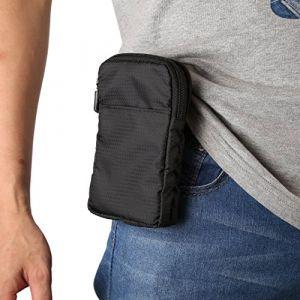 Pochette Téléphone, Mini Sac Bandoulière 6.0 Pouces de Stockage Nylon Housse Ceinture Crochet Epaule Portefeuille Smartphones pour iPhone 6s/7 Plus Samsung Galaxy S6 Edge/S7/S8 Huawei P10 Plus Noir (EU-MeganStore, neuf)