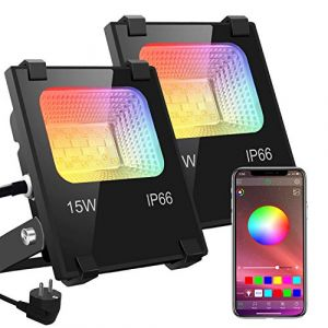 RGB Projecteur LED Exterieur 15W contrôlé par smartphone Bluetooth, Intelligente RGB Spot LED de Couleur, IP66 Etanche, 20 Modes 16 millions Couleurs, pour Terrasse, Jardin et Garage 2 pack (SiDell, neuf)