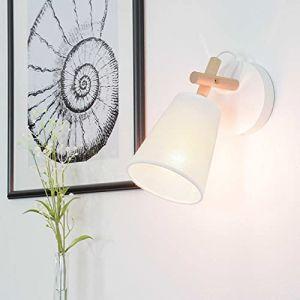 Applique design scandinave design blanc crème en tissu de bois abat-jour entonnoir en tissu E27 applique murale lampe de couloir (Licht-Erlebnisse, neuf)