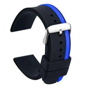 Ullchro Bracelet Montre Remplacer Silicone Bracelet Montre Bicolore - 20, 22, 24mm Caoutchouc Montre Bracelet avec Acier Inoxydable Boucle (22mm, Noir et Bleu) (Ullchro-EU, neuf)