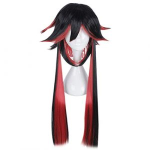 Whhhherr Perruque Cosplay Spécial Forme Exterieure Styling Cheveux Longs Cos Perruque Couleur Mixte Série Mafia Anime (Couleur : Black and red color) (Whhhherr, neuf)