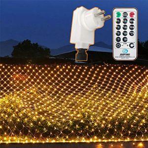 204 LEDs Filet Lumineuse Nettes Extérieure, 3M x 2M Guirlande Solaire Etanche Prise Courant, 8 Modes Lumières Corde Fée Maille d'Éclairage avec Distance Minuteur pour Jardin Patio Clôture, Blanc Chaud (OneSike, neuf)