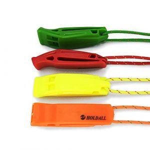 Sifflet de secours HoldAll avec dragonne (lot de 4) pour extérieur, sifflet de détresse pour kayak, bateau et signalisation (HODER, neuf)