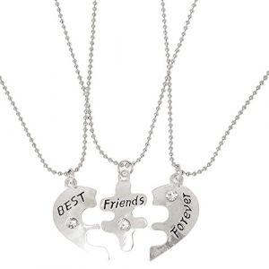 Best Friends Forever en forme de cœur perles d'amitié Split 3ami Pull Collier (RRunzfon, neuf)