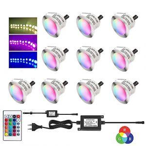 Dystaval Lot de 12 Spots LED Encastrable Couleur, Avec Télécommande, Etanche IP67 Ø45mm, pour Terrasse Bois Piscine Extérieur, Spots à Encastrer RGB Plafond DC12V, Kit Mini Spot LED Lampe (AKOR, neuf)