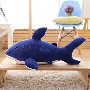 Requin jouet en peluche grand requin blanc poupée oreiller sommeil chiffon poupée enfants cadeau femme bleu 85 cm (lizhaowei531045832, neuf)