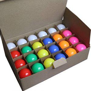 Limão - Lot de 24 ampoules LED B22 1,5W à culots renforcés - 110 Lumens - Rouges, Bleues, Vertes, Jaunes, Roses, Oranges et Blanc Chaud incassables (équivalent 15W) pour Guirlande Extérieure (Limão Officiel, neuf)