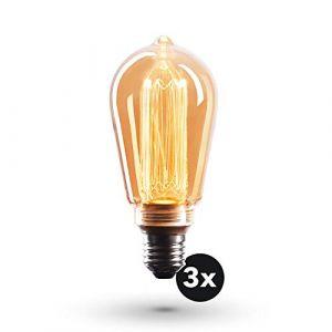 Ampoule Crown LED 3x Edison | Douille E27, Dimmable, 3,5 Watts, 1800k, Lumière blanche, 230 Volts, EL24 | éclairage à filament antique dans un style rétro Vintage, 1 x Classe énergétique EU : A+ (CROWN LED GmbH, neuf)