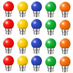 Lot de 20 ampoules Led B22 2W Guirlande Rouge, Jaune, Orange, verte, Bleu, Incassable (équivalence 20W) (HUAMu, neuf)