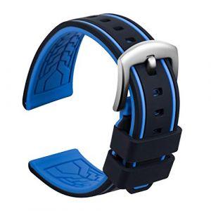 Ullchro Bracelet Montre Remplacer Silicone Bracelet Montre Bicolore - 20, 22, 24, 26mm Caoutchouc Montre Bracelet avec Acier Inoxydable Boucle Argent (24mm, Noir et Bleu) (Ullchro-EU, neuf)