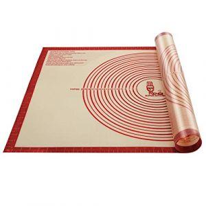 Super Grand Tapis à pâtisserie en silicone antidérapant avec mesures 91.4 × 61 cm pour tapis de cuisson, Tapis de comptoir, Tapis de pâte à rouler, Placement/fondant/Tapis de la croûte à tarte (Rouge) (Vnraykitchen, neuf)