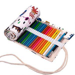 Amoyie Trousse à Crayon Enroulable pour 72 Crayons de Couleur, Sacs organiseurs de Toile, Porte-Crayons Pochettes Rouleaux, enveloppe de Crayon, Motif Animal (amoyie, neuf)