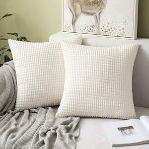 """MIULEE Housses de Cousssin en Polyester Doux Granulés Carré Taies d'oreiller avec Grands Granules décoratifs Solid pour Canapé Chambre Voiture Salon 55x55cm 22""""x22"""",2 pièces Beige (MIULEE HOME, neuf)"""
