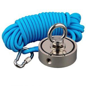 Mutuactor combiné 400 kg double côtés vertical magnétique en néodyme Force Aimant de pêche avec corde de 10 m (Magnet-Collection, neuf)