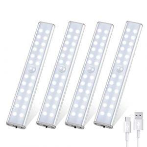 Tanbaby Lampe de Placard 24 LED, Sans Fil, Rechargeable par USB, Aimanté, Détecteur de Mouvement, 4 Modes d'Éclairage, Portable. Lumière de Placard, Baladeuse de Secours, Veilleuse Enfant (Blanc) (KAIPUZM, neuf)