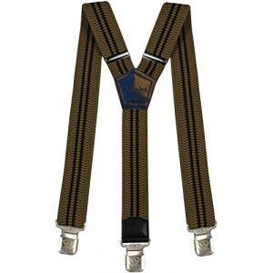 Bretelles Y entièrement réglable pour Homme Femme 4 cm avec 3 clips élastique Solide Casual Pantalon Jeans Différentes couleurs Noir, Marron, Bleu (Brown-rayures) (Decalen France, neuf)