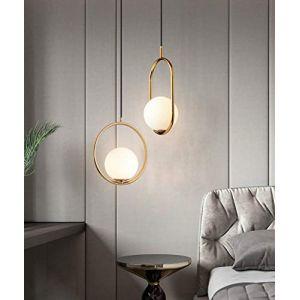 Lampe suspension nordique/lustre en fer boule de verre lustre moderne créatif pour chambre/salon/restaurant/bar, rond-or (Fancy Fancy Store, neuf)