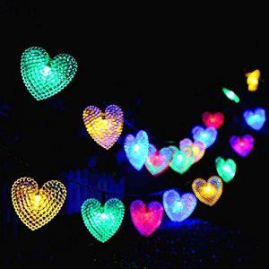 Solaires Coeur D'amour Lumières Extérieures,KINGCOO Imperméable 20ft 30LED Solaire étoilé Décoratif Guirlande Lumineuse avec 8 Modes pour Noël Halloween Mariage (Multicolore) (KINGCOO-Direct, neuf)