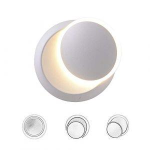Appliques Murales Interieur Blanc Lampe Murale LED 5W Moderne Applique Murale Blanc Chaud Créatif Eclipse 2 en 1 Fer Applique Murale Lampe Led (Blanc) (WanLianInc, neuf)