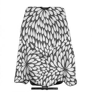 Gris Blanc Fleur Point Cheveux Coupe Cape Imperméable Anti-Tache Cheveux Tablier Anti-Statique Durable 55 '' X 66 (Agnes Carey, neuf)
