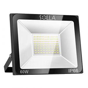 SOLLA Projecteur LED 60W, IP66 Imperméable, 4800LM, Eclairage Extérieur LED, Equivalent à Ampoule Halogène 340W, 6000K Lumière Blanche du Jour, Eclairage de Sécurité (SOLLA Outdoor Lighting, neuf)
