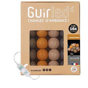 Guirlande lumineuse boules coton LED USB - Veilleuse bébé 2h - Adaptateur secteur double USB 2A inclus - 3 intensités - 16 boules 3.2m - Mesopotamia (Lighting Arena, neuf)