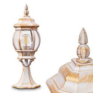Borne extérieure Lentua, potelet vintage en aluminium moulé blanc/or de 50 cm de haut, luminaire de jardin pour une ampoule E27 max. 60 Watt, IP44, compatible ampoules LED (hofstein, neuf)