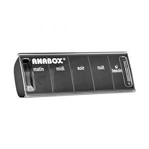 Pilulier Journalier | 5 Cases | Noir | Anabox (BIVEA, neuf)
