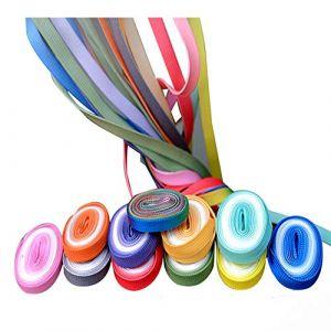 ISKYBOB 10 Paires Lacets de Chaussons Dégradés, Cordons de Souliers Plats Colorés Arc-en-ciel pour Sport Bottes Patins pour Enfants, 90cm/35.43Inch (ISKYBOB-18, neuf)