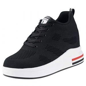 TQGOLD® Basket Femme Compensee Talon 8cm Chaussure de Sport Plateforme Sneakers Noir Taille 34 (Hanson Mastery, neuf)
