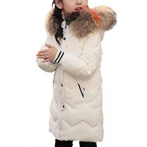 LSERVER Fille Enfant Faux Fourrure Manteau Hiver Manches Longues Veste Épaissi Doudoune à Capuche, Blanc, 12-14 Ans / 160 (YFPICO-EU, neuf)