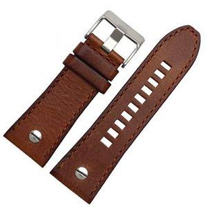 Bracelet en Cuir 24 26 28mm avec Clou pour Diesel Watchs Band Main Bracelet en Cuir, Brun Boucle d'argent, 28mm (suizhoushizengdouquyuezichuanbaihuodian, neuf)