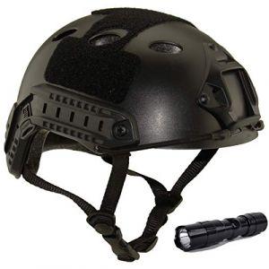 QMFIVE Casque Tactique Le Casque PJ avec Les Lunettes SWAT De Protection pour Combat CQB Airsoft Comdat Paintball (Noir+L) (QMFIVE, neuf)