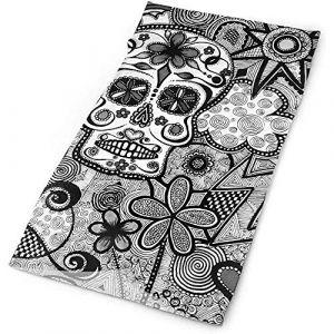 Couvre-chefs - UPF 30 Chapeaux polyvalents à l'extérieur tous les jours - Bandeau tête de mort fleur de sucre du Mexique, cache-cou, bandana, cagoule (Hancal, neuf)
