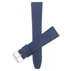 Bandini, 16mm Bracelet de Montre pour Femme en Cuir, Bleu, avec Coutures (Shoptictoc., neuf)